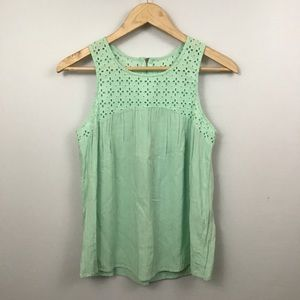 Sweet Wanderer Mint Green Sleeveless Eyelet Top